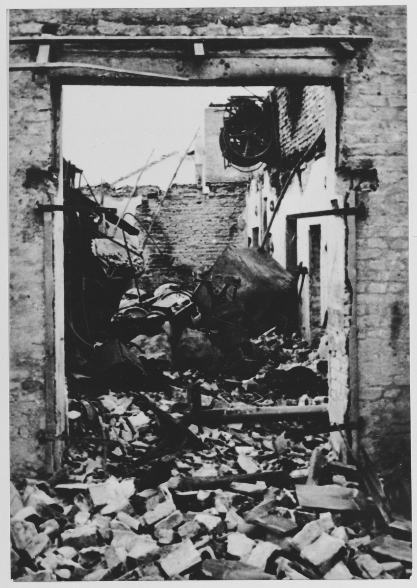 View of a destroyed workshop in the Jasenovac concentration camp.