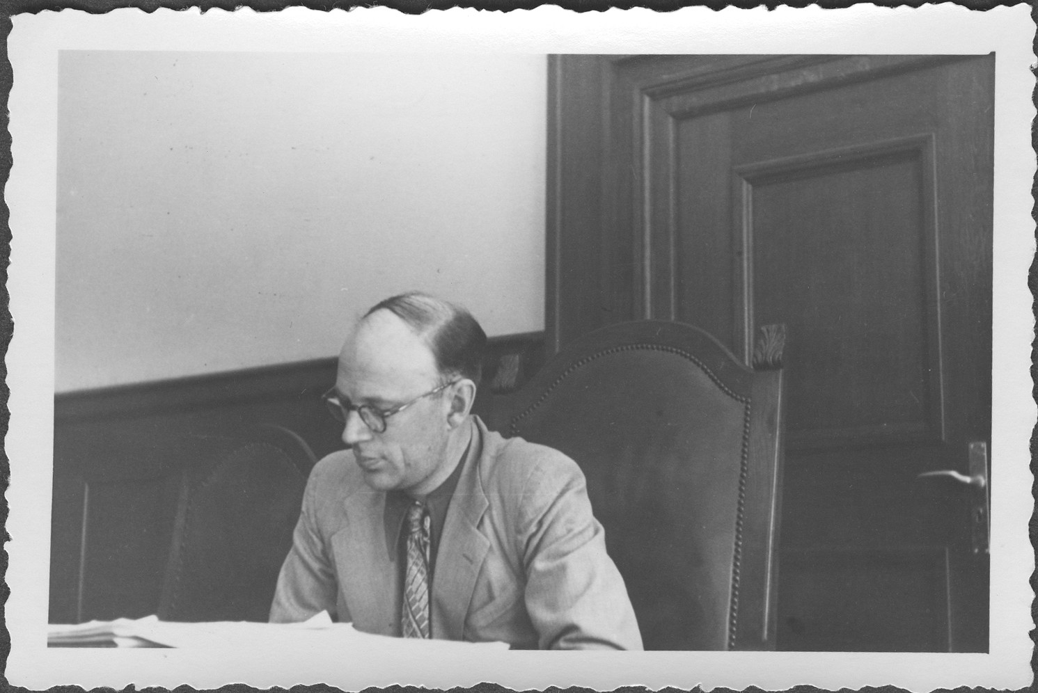 Portrait of I. Rasumov, Russian commissioner at the IMT Nuremberg commission hearings investigating indicted Nazi organizations.