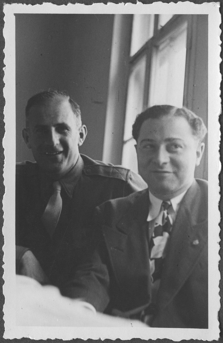 American assistant prosecutor Robert Kempner (left) with Paul Niederman at the International Military Tribunal at Nuremberg.
