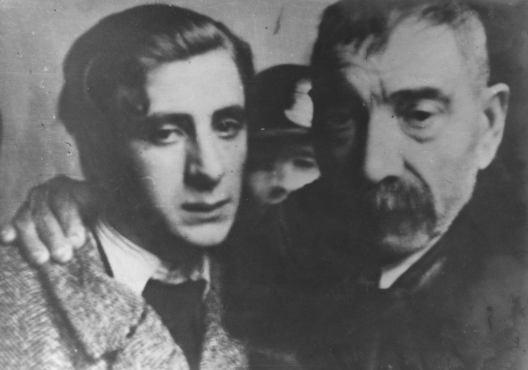 Yugoslav partisan Stevan Kojic poses with his father at their final meeting before his execution for involvement in the resistance.