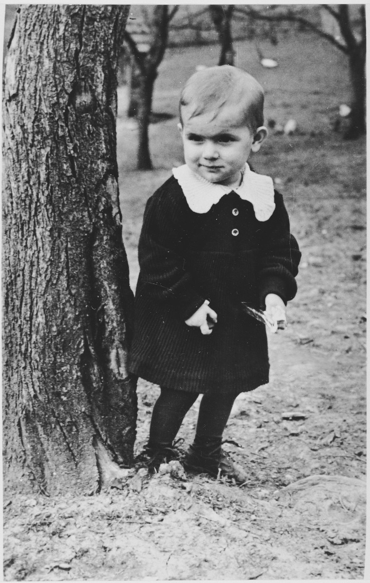 Portrait of Milena Jajcanin, a Serbian child who at the age of three was forcibly separated from her mother by Ustasa milita and taken to a Croatian camp.  Her mother eventually found her at the Sisak concentration camp for children.