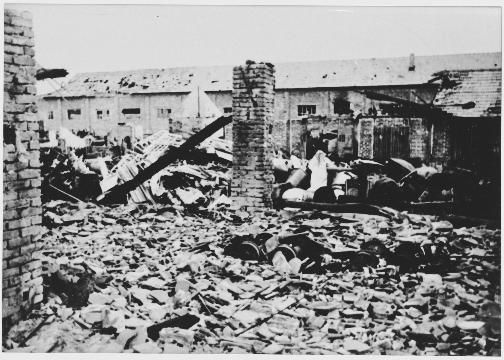 View of the ruins of a warehouse containing scrap metal at the Jasenovac concentration camp.