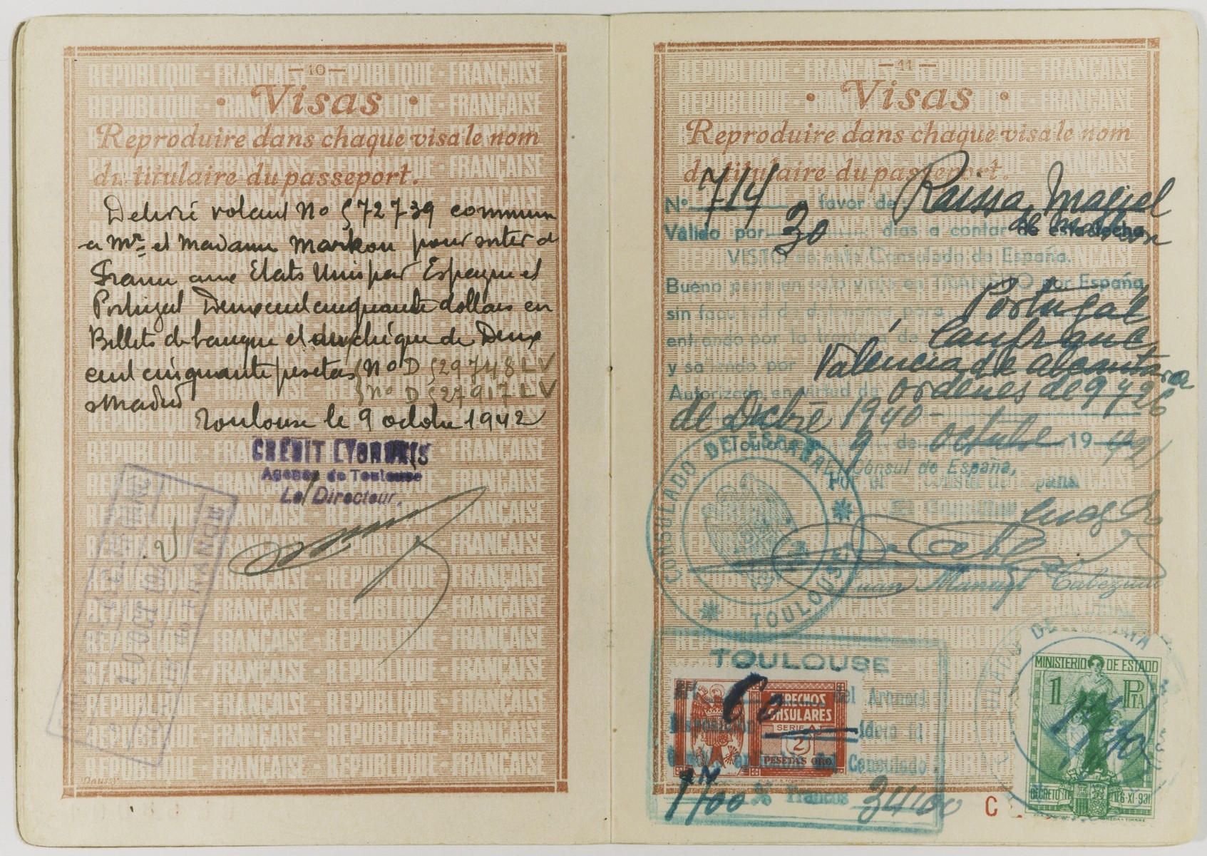 A page of a passport with stamped French, Portuguese and Spanish visas issued to Raya Markon, a Jewish emigre from Vilna, and her son, Alain.