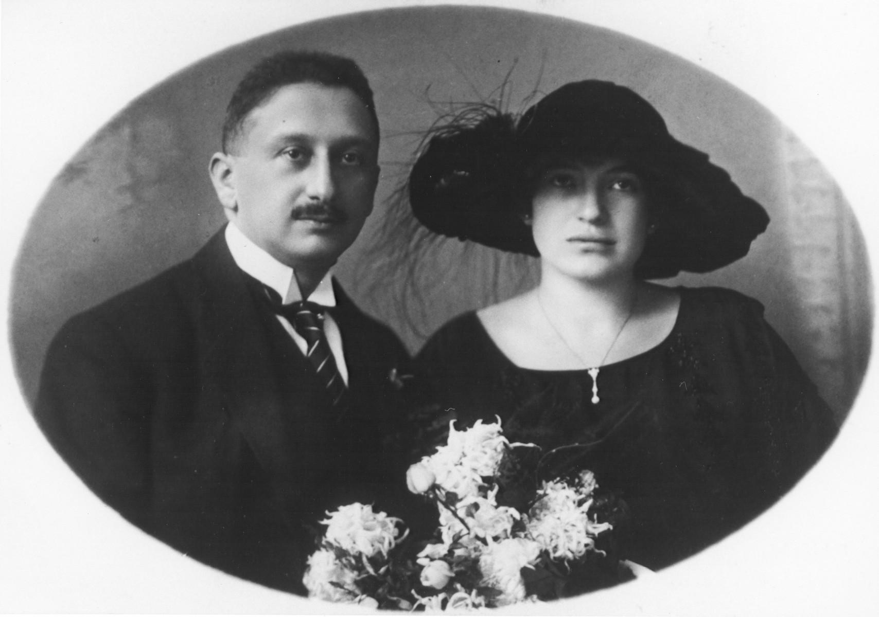Wedding portrait of Viktor and Lili Schiller.