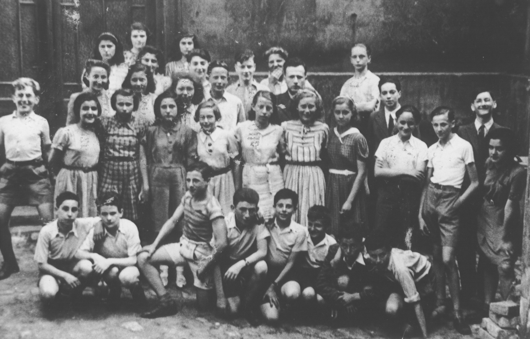 Group portrait of students at the Jewish school in Prague.