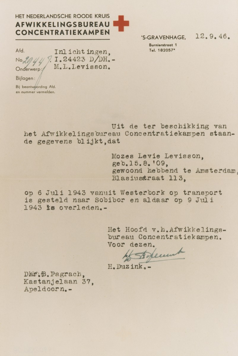 Certificate from the Dutch Red Cross confirming that Mozes Levisson was deported from Westerbork to Sobibor where he perished on July 9, 1943.