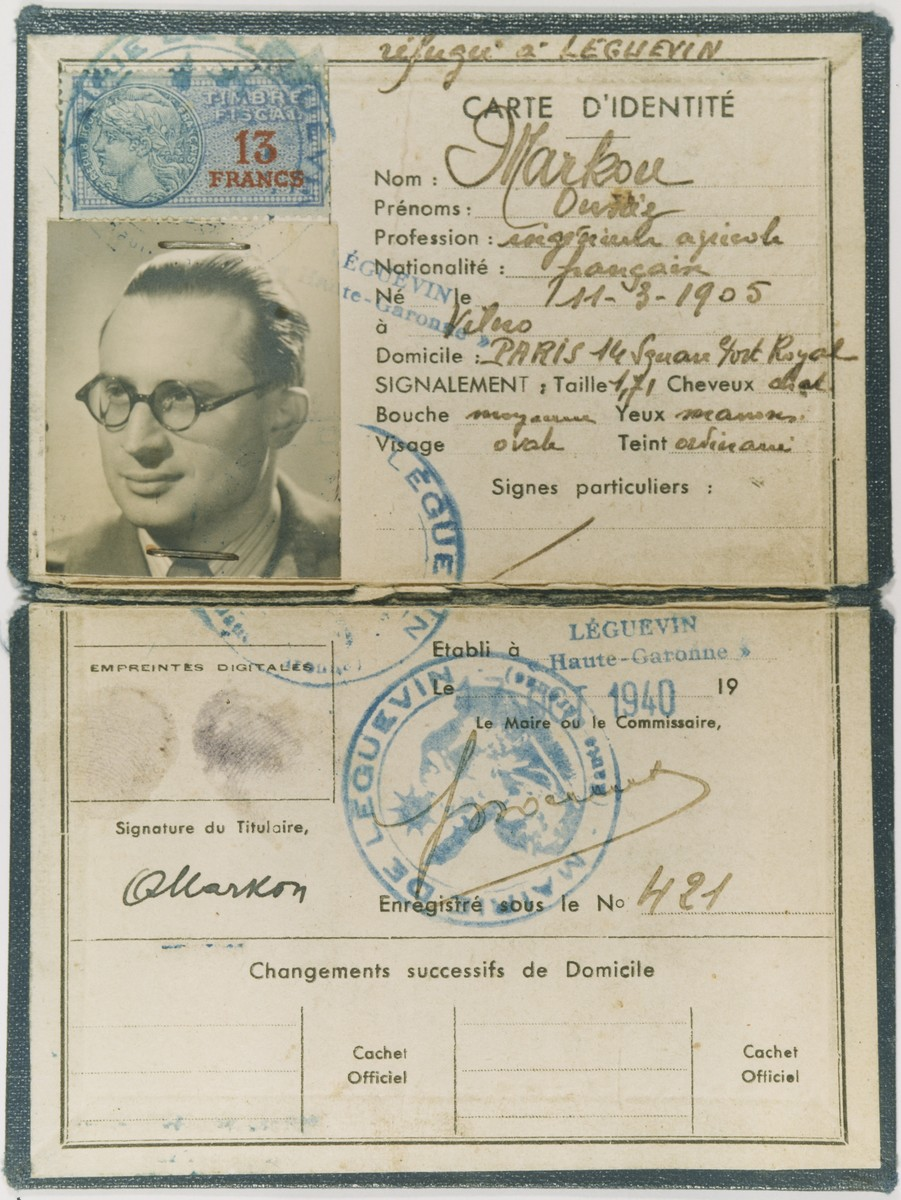Identification papers issued to Alexander Markon, a Jewish emigre from Vilna, who was living in Paris.