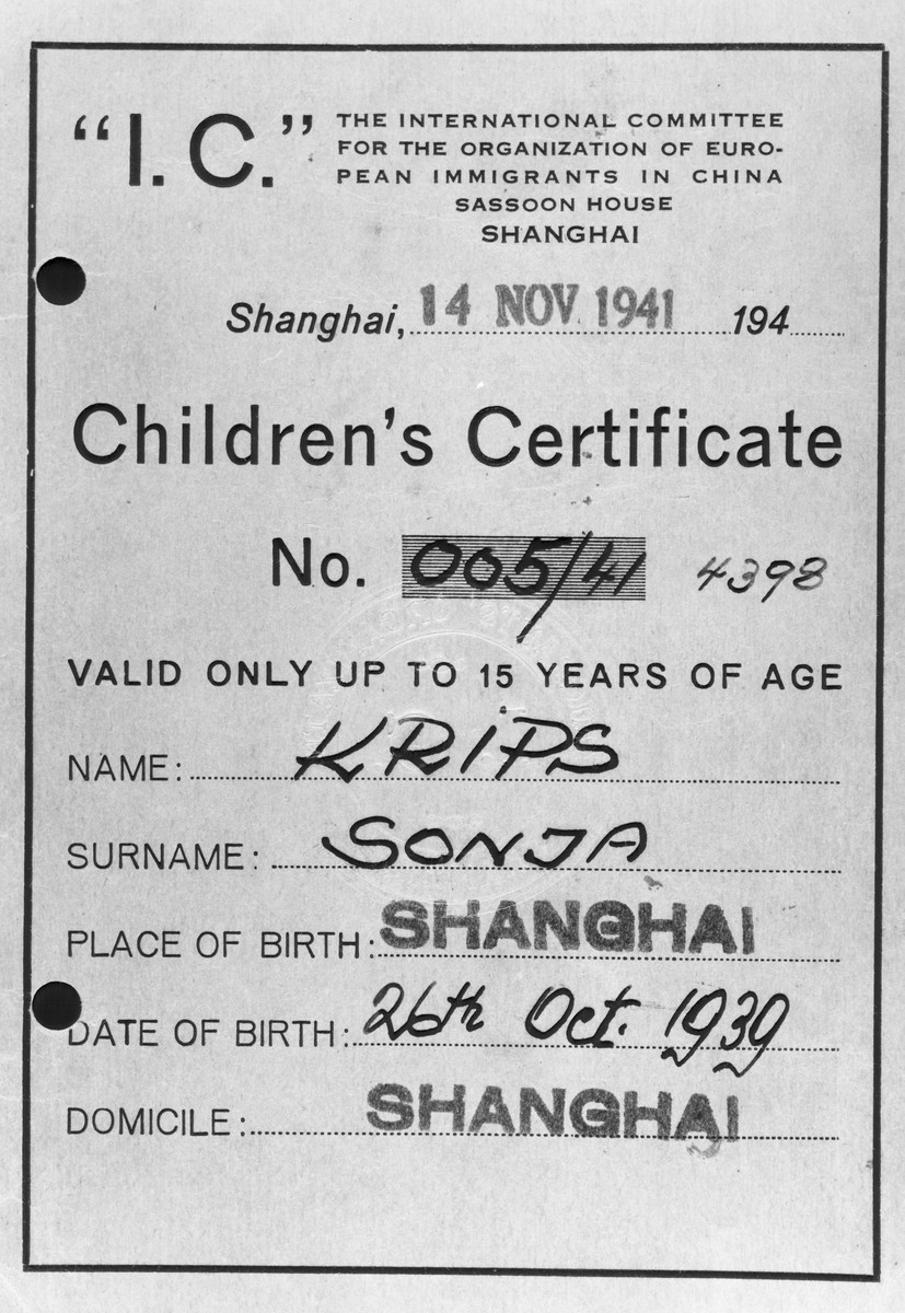 Child identification card issued to Sonja Krips.