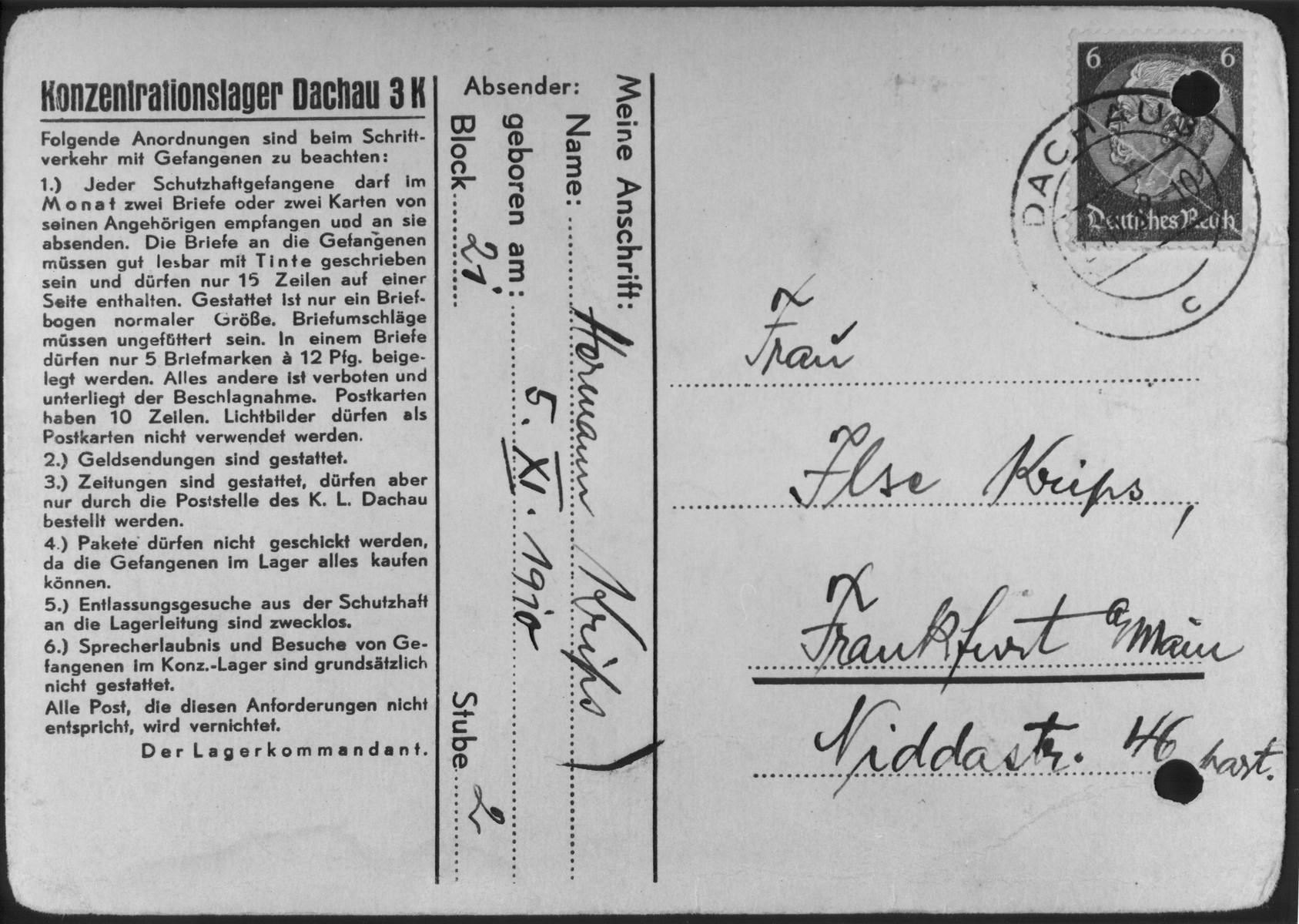 Postcard sent by Hermann Krips to his wife Ilse from the Dachau concentration camp where he was sent shortly after Kristallnacht.
