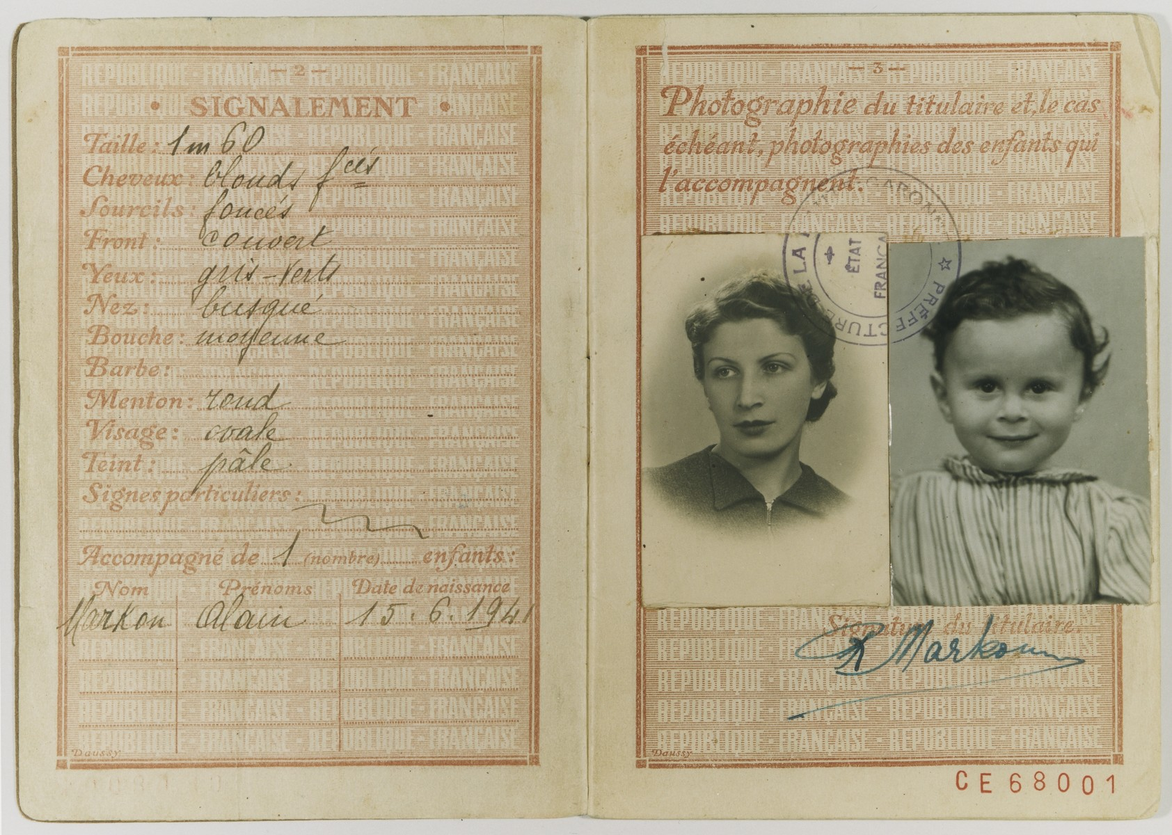 A page of a passport issued to Raya Markon, a Jewish emigre from Vilna, and her son, Alain.