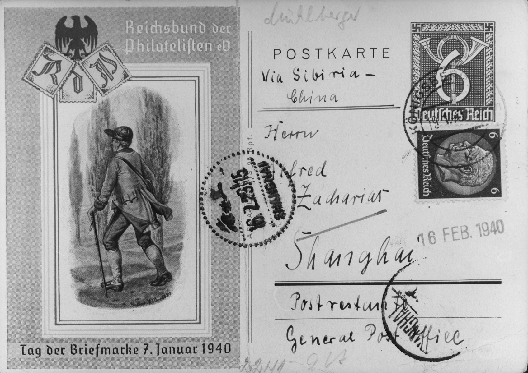 Postcard sent to Mr. Alfred Zacharias in Shanghai from Koenigsberg Germany by way of Siberia.