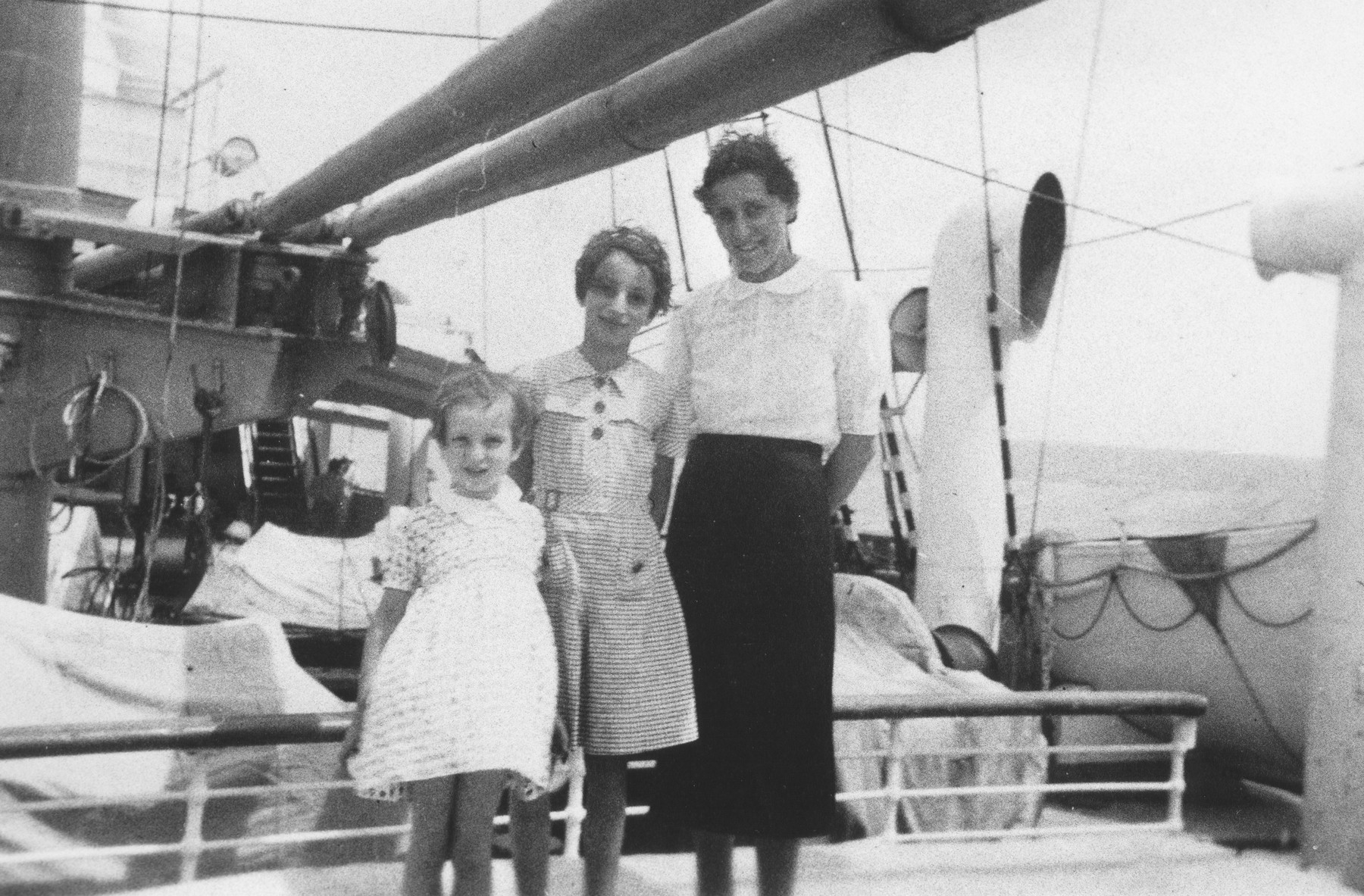 A Jewish refugee family sails aboard the Usambara to Kenya.  Pictured are Klara, Inge and Gisela Berg.