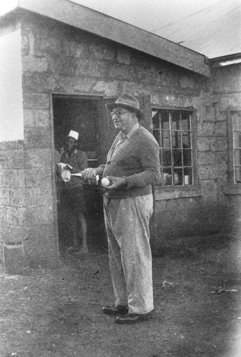 German Jewish refugee Joseph Berg prepares for Passover on his farm near Limuru, Kenya (Kiambu district), where his family found refuge during World War II.