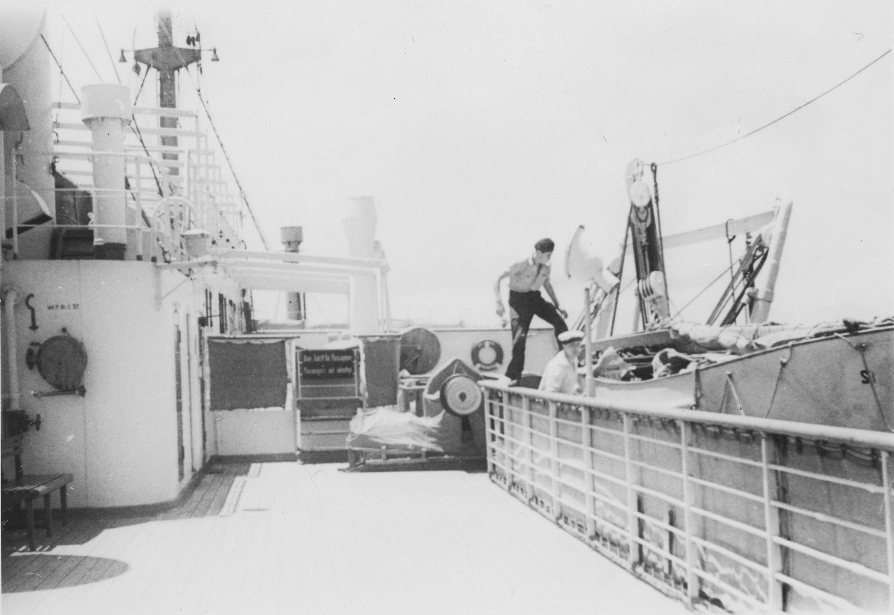 Crewmen board a lifeboat on the MS St. Louis.