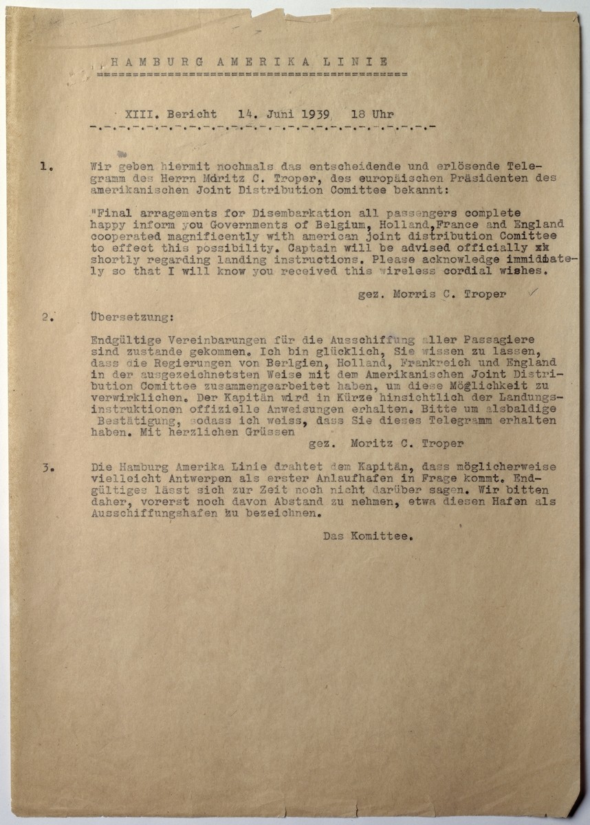 Report issued by the Passenger Committee of the St. Louis announcing final arrangements for the disembarkation of the passengers in France, Belgium, The Netherlands and England.