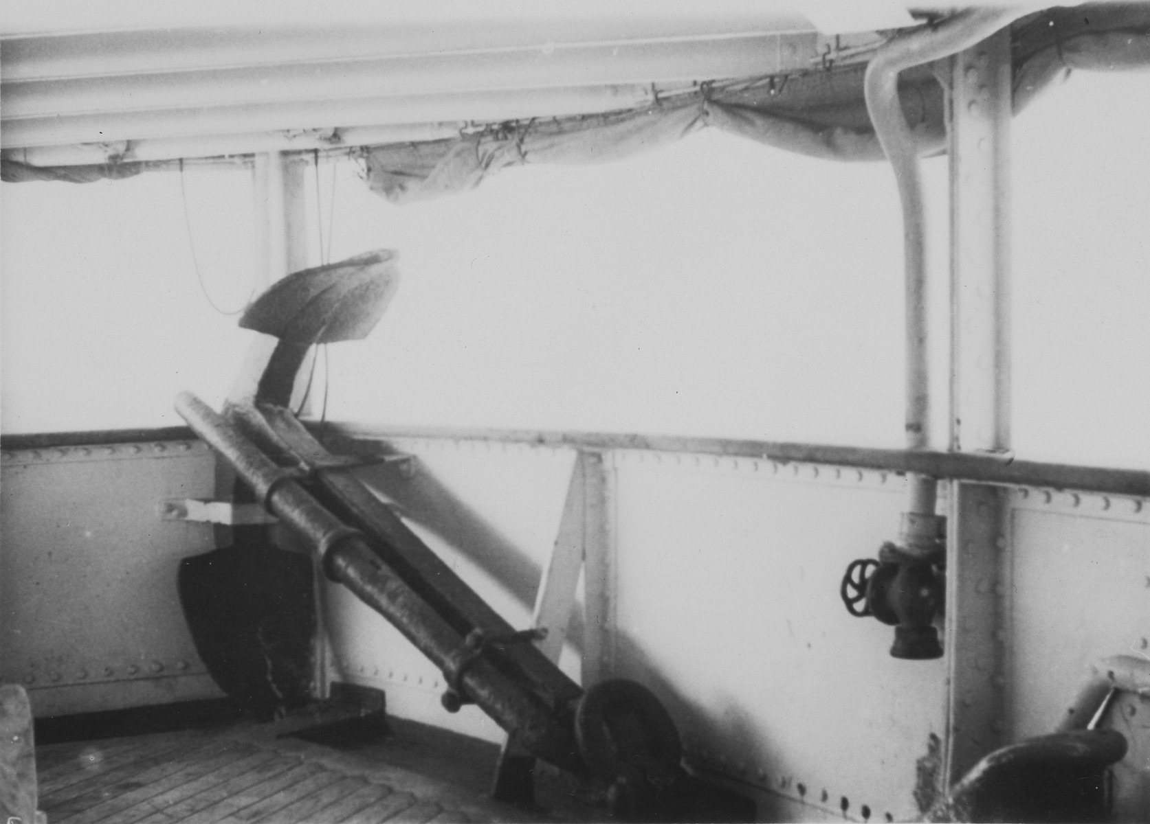 View of the anchor of the MS St. Louis, stowed on the deck of the ship.