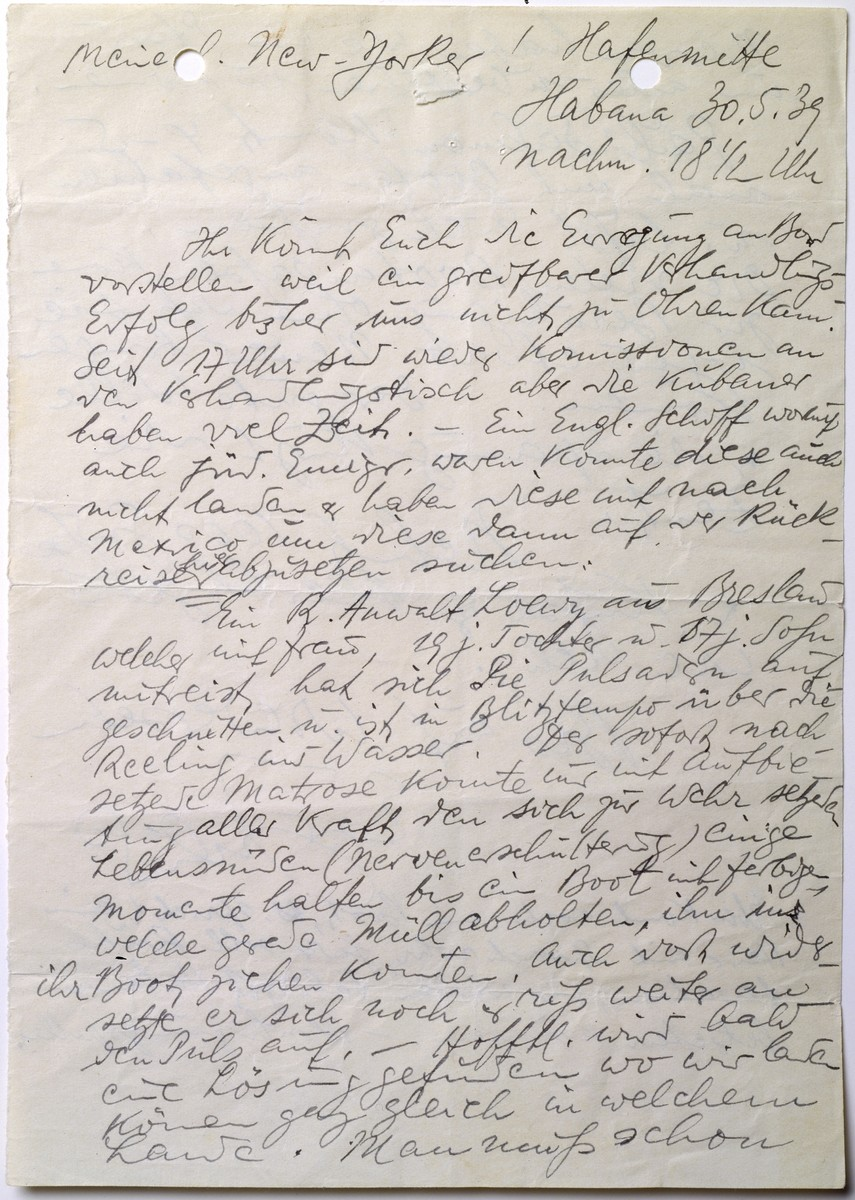 Handwritten letter by MS St. Louis passenger, Julius Hermanns, to Sol Mayer in New York.