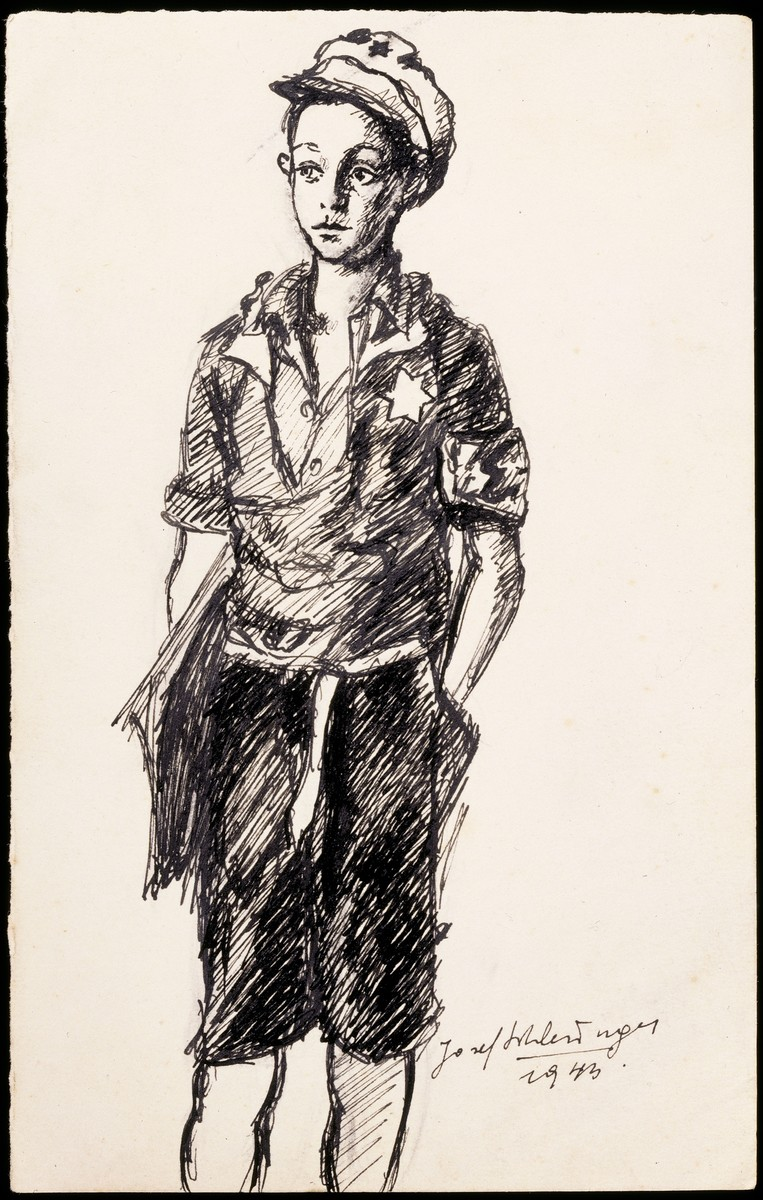 Portrait of an unidentified child messenger for the Kovno ghetto Jewish Council, pen and ink drawing by Josef Schlesinger.
