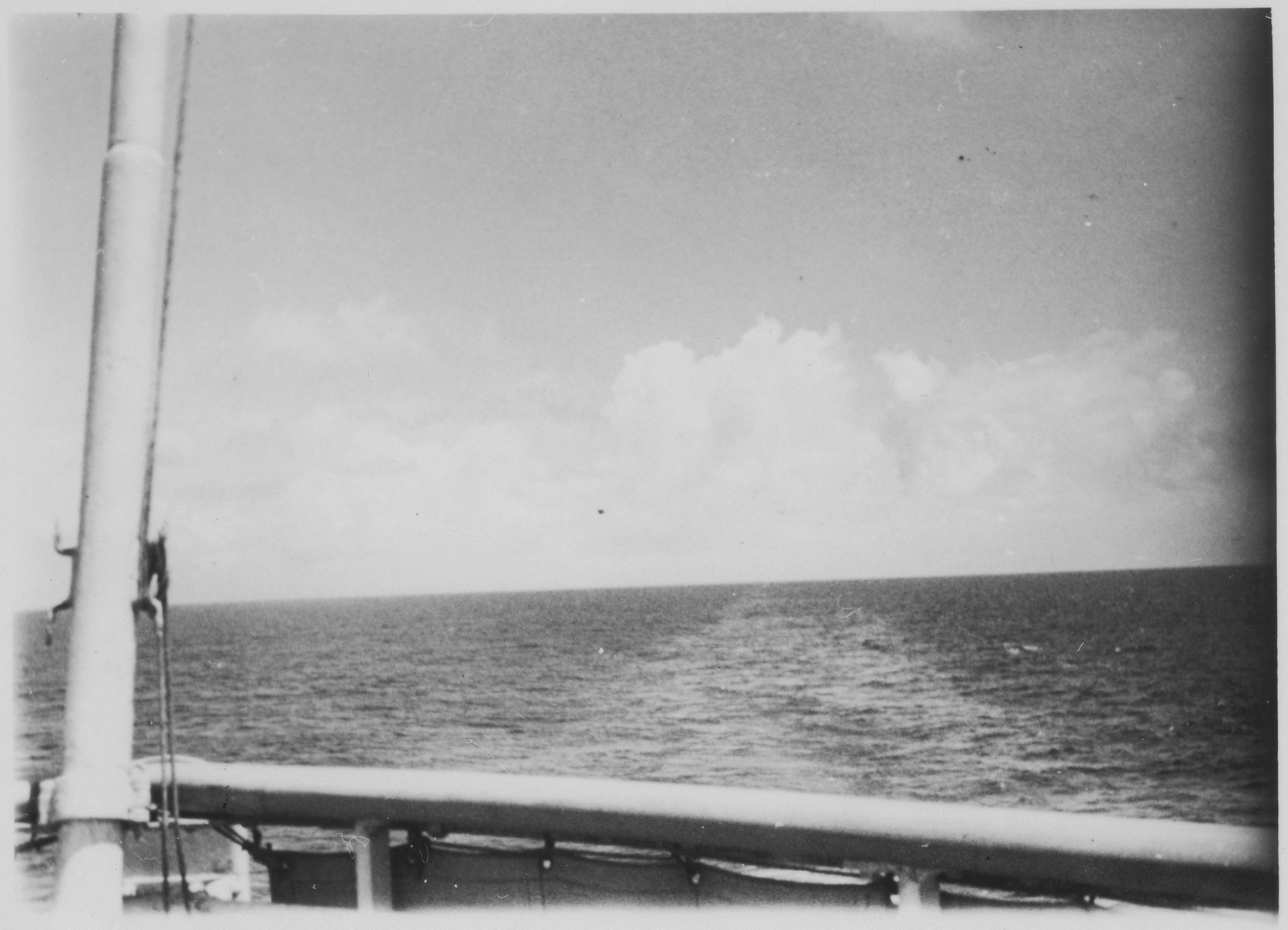 View of the ocean taken from the deck of the MS St. Louis.
