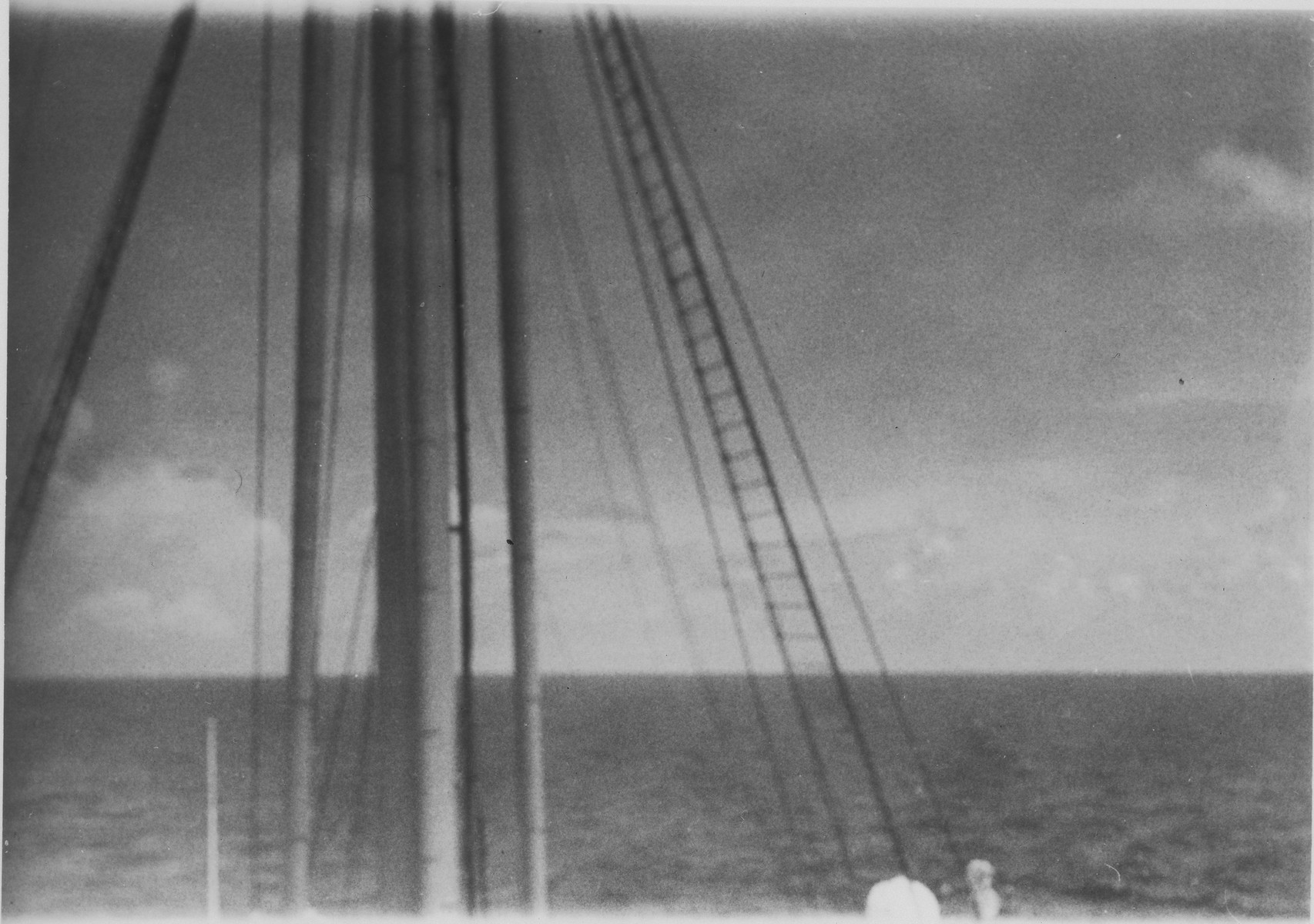 Photograph of one of the masts of the MS St. Louis.