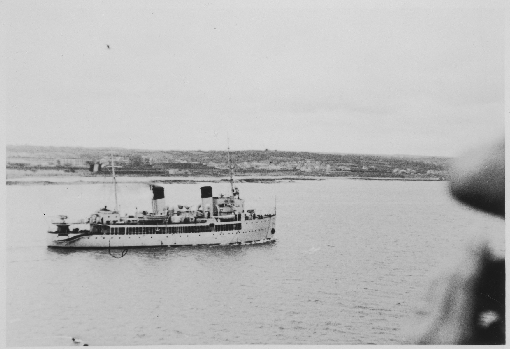 View of a passenger ferry in Havana harbor from the deck of the MS St. Louis.