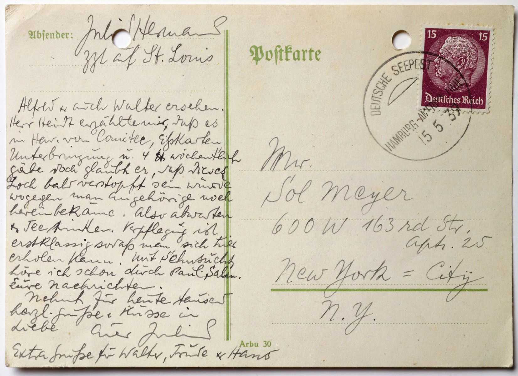 Postcard written by MS St. Louis passenger, Julius Hermann, to Sol Mayer in New York.