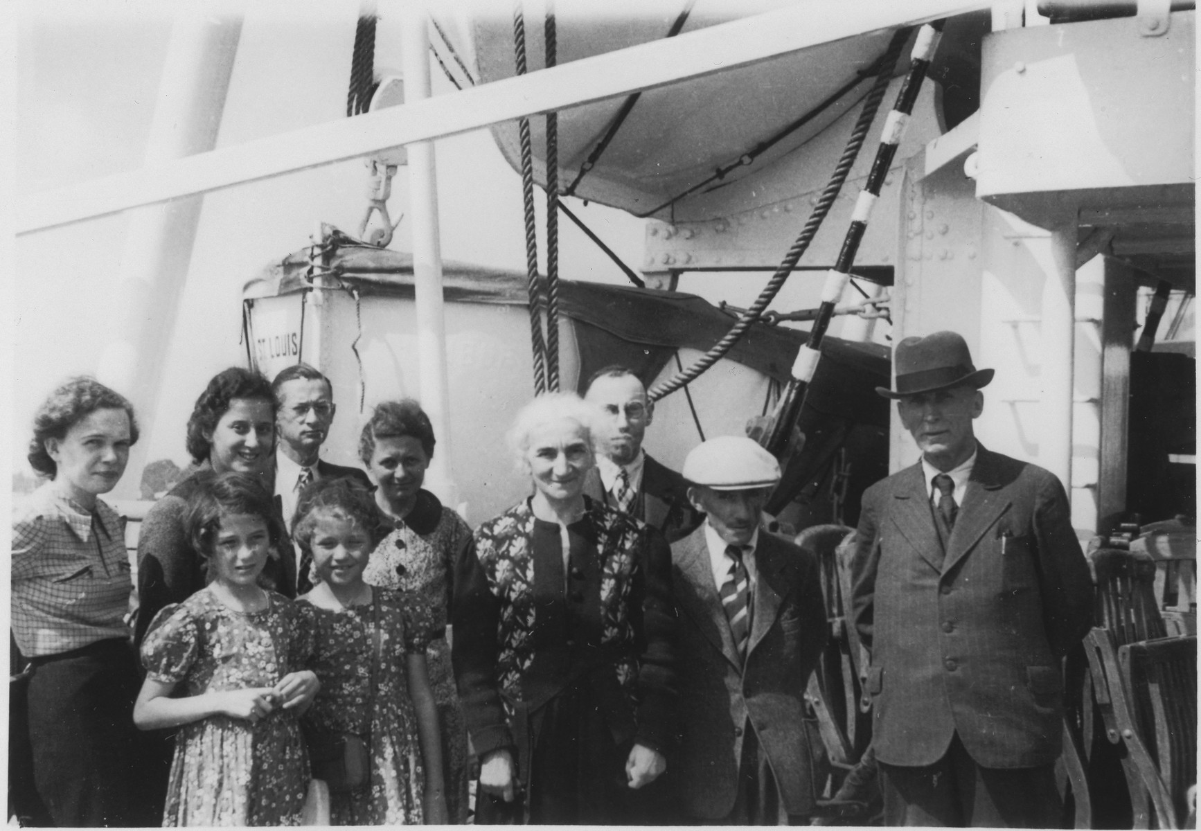Group of passengers pose on board the MS St. Louis.