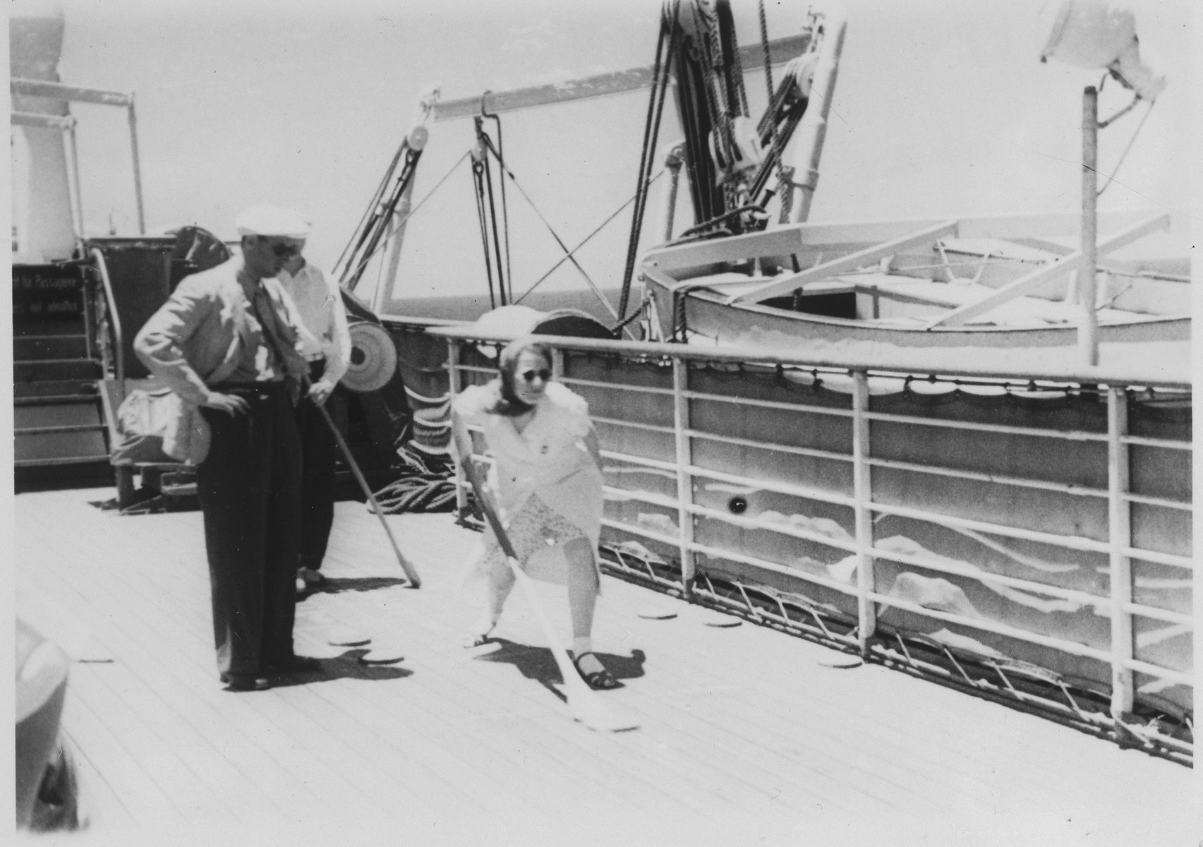 Passengers play shuffleboard on the deck of the MS St. Louis.