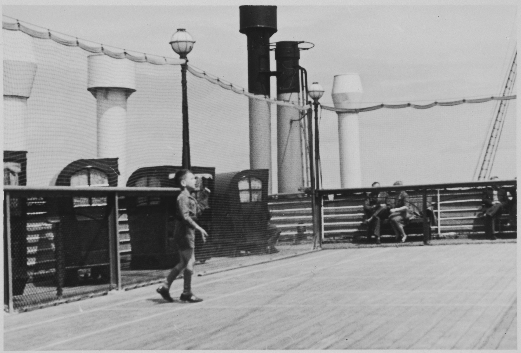A Jewish refugee child plays on the deck of the MS St. Louis.