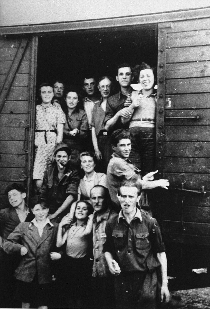 A group of young Jewish DPs on their way to Palestine via Austria and Italy, pose in the doorway of a train car.  Standing in the front, second from the left is Shie Yehoshua Zoltak, far right is Isaac Goldberg.  Standing in the freight care are Henia Zoltak (second from left) and Israel Zoltak (third from right).
