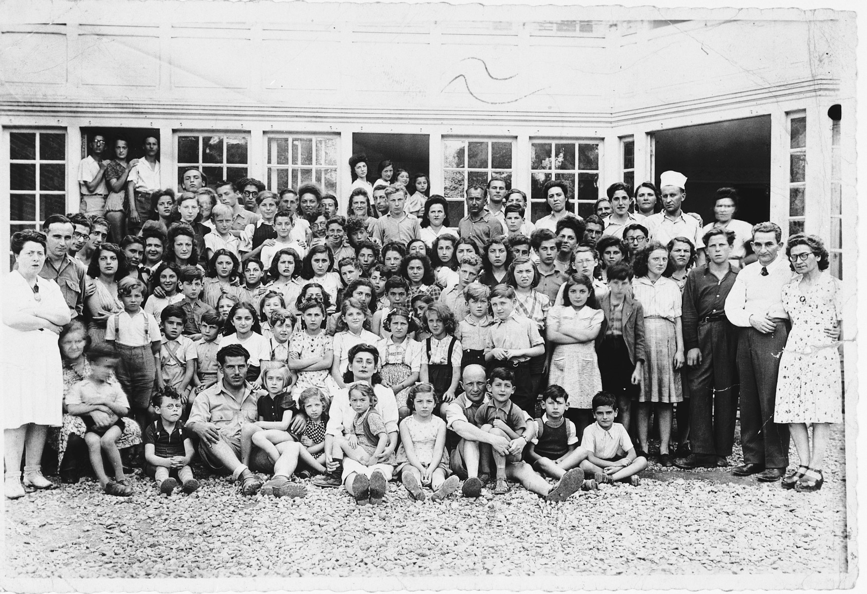 Staff and children of the Nahum Aronson children's home in Les Andelys, France.