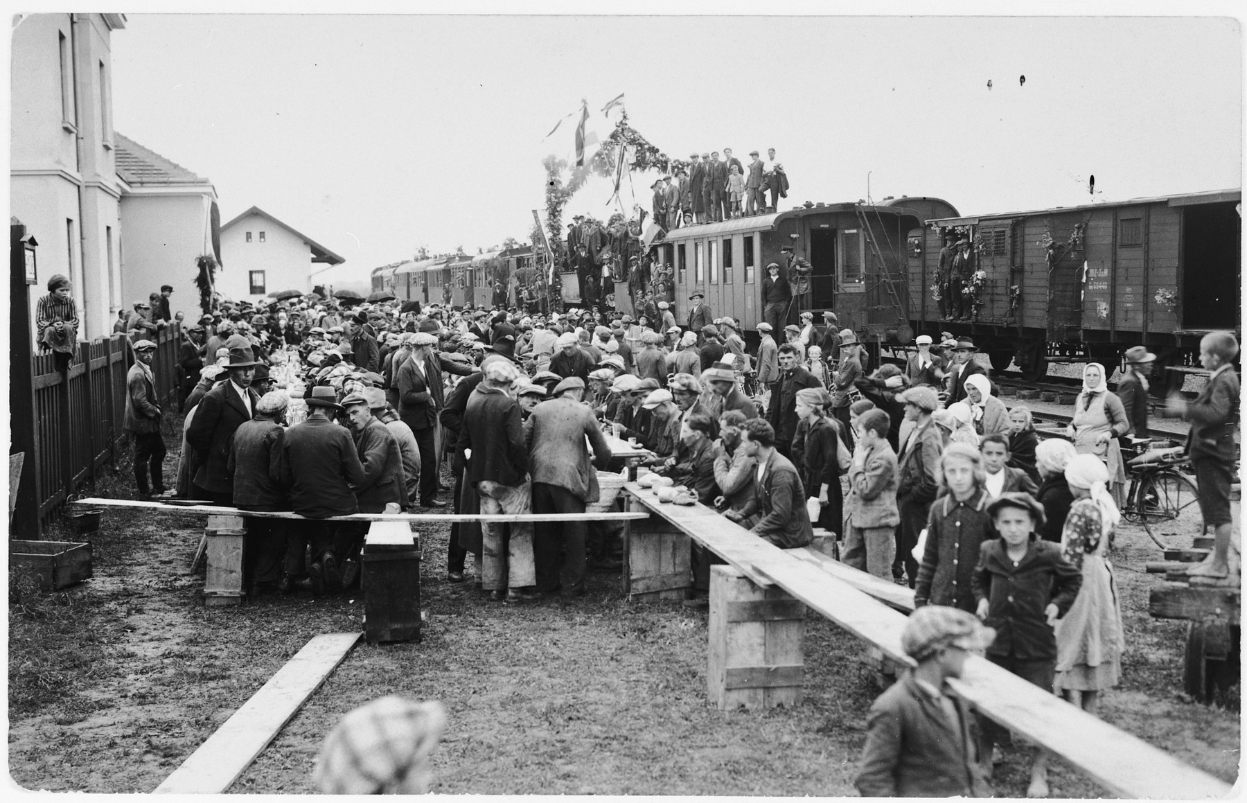 Local residents celebrate the arrival of the first railroad to Ludbreg, Croatia.