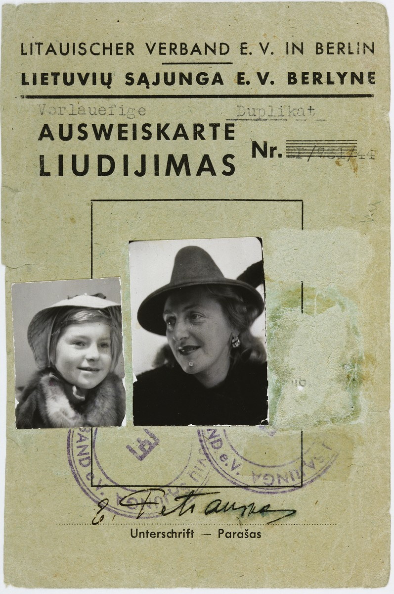 "Identification card issued in Berlin for the Lithuanian woman Elena Petrauskas and her ""daughter"" Danute."