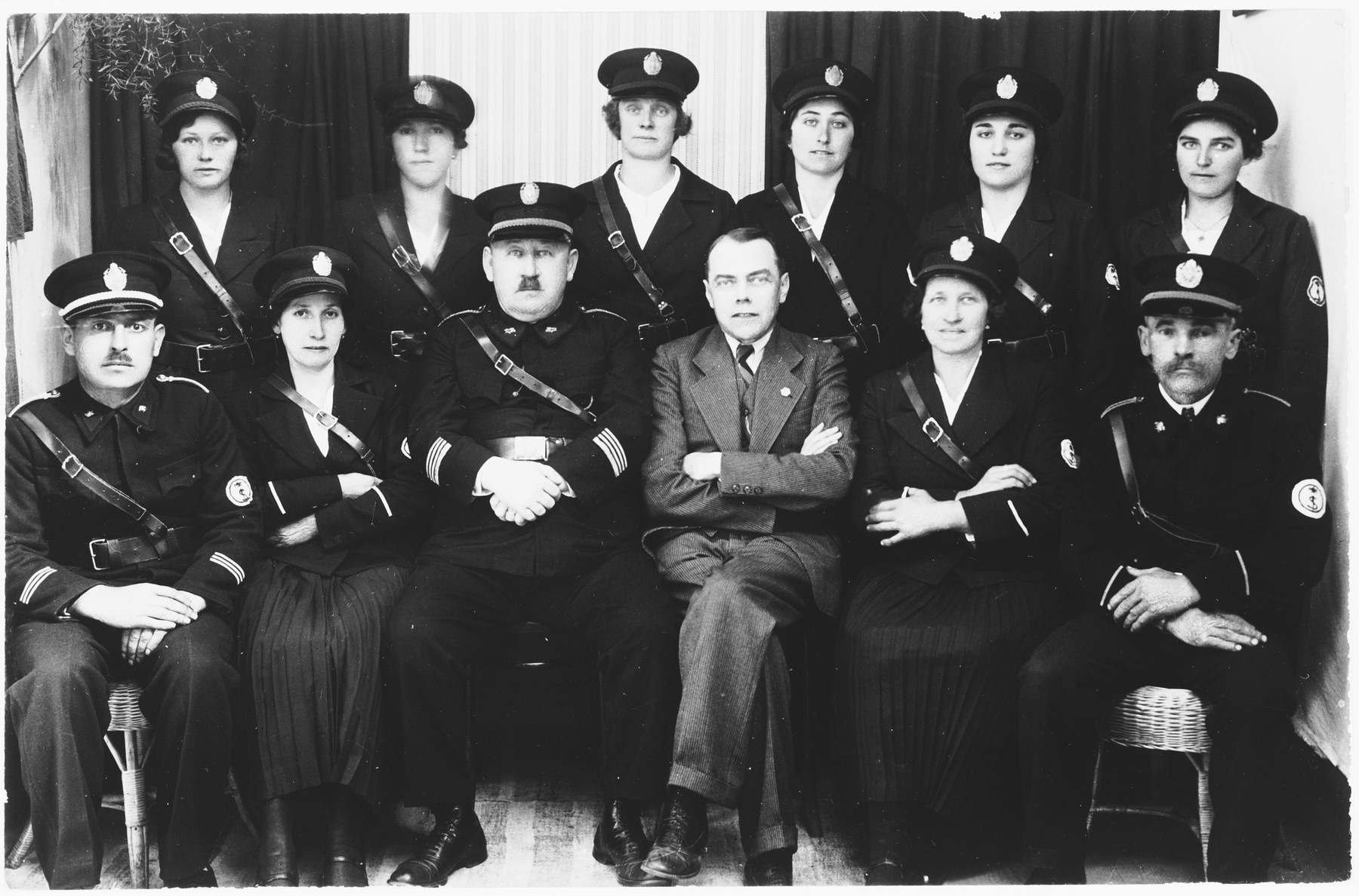 Group portrait of members of the volunteer fire brigade in Ludbreg, Croatia.  Among those pictured is Ivo Kerstner (front row, third from the left) and Ljudevit (Ludva) Vrancic (front row, fourth from the left).