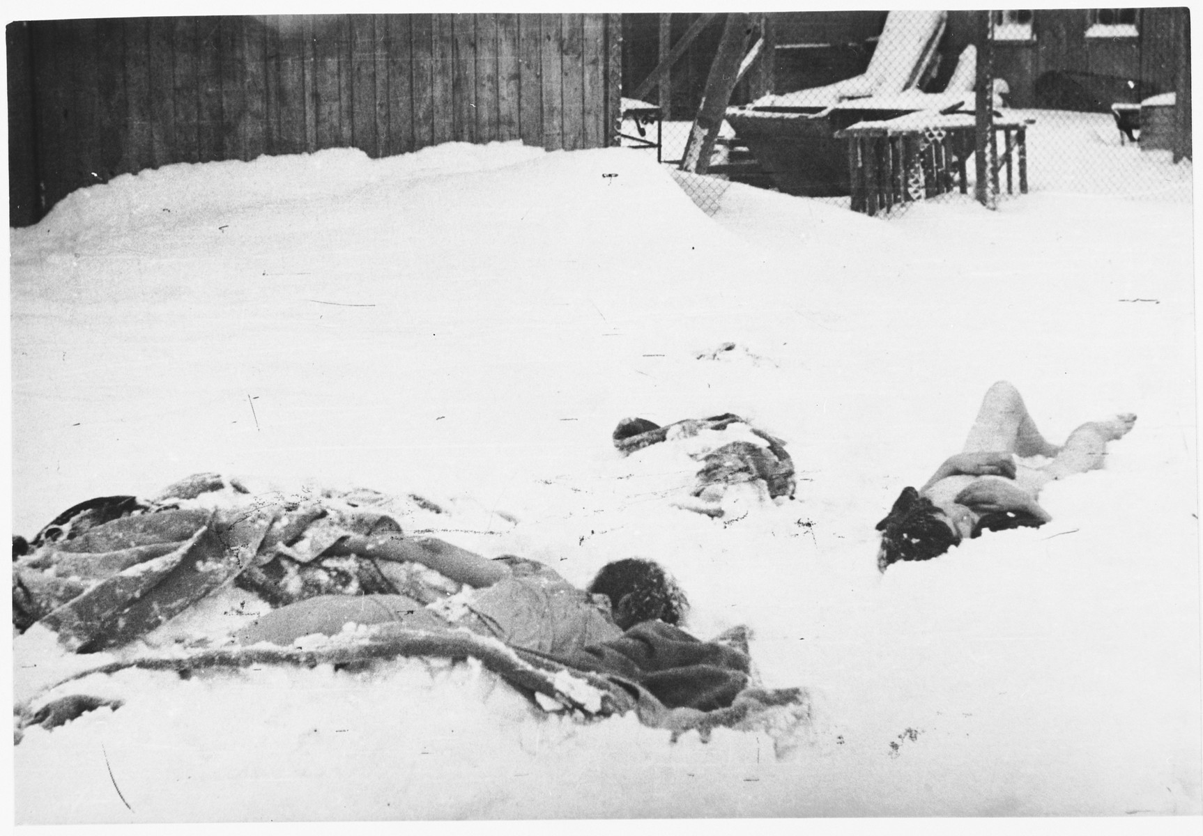 "The corpses of prisoners lie in the snow outside a barracks in Auschwitz-Birkenau immediately after the liberation.  Original caption:  ""Some more leftovers."""