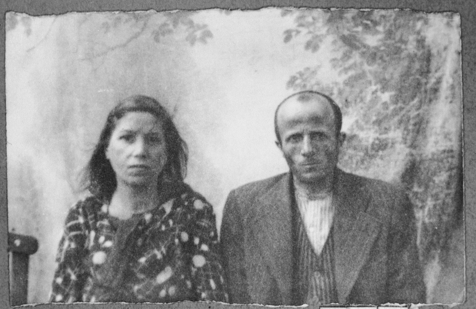 Portrait of Bohor Mayo, son of Samuel Mayo, and Bohor's wife, Sinora.  He was a second-hand dealer.  They lived at Zvornitska 27 in Bitola.
