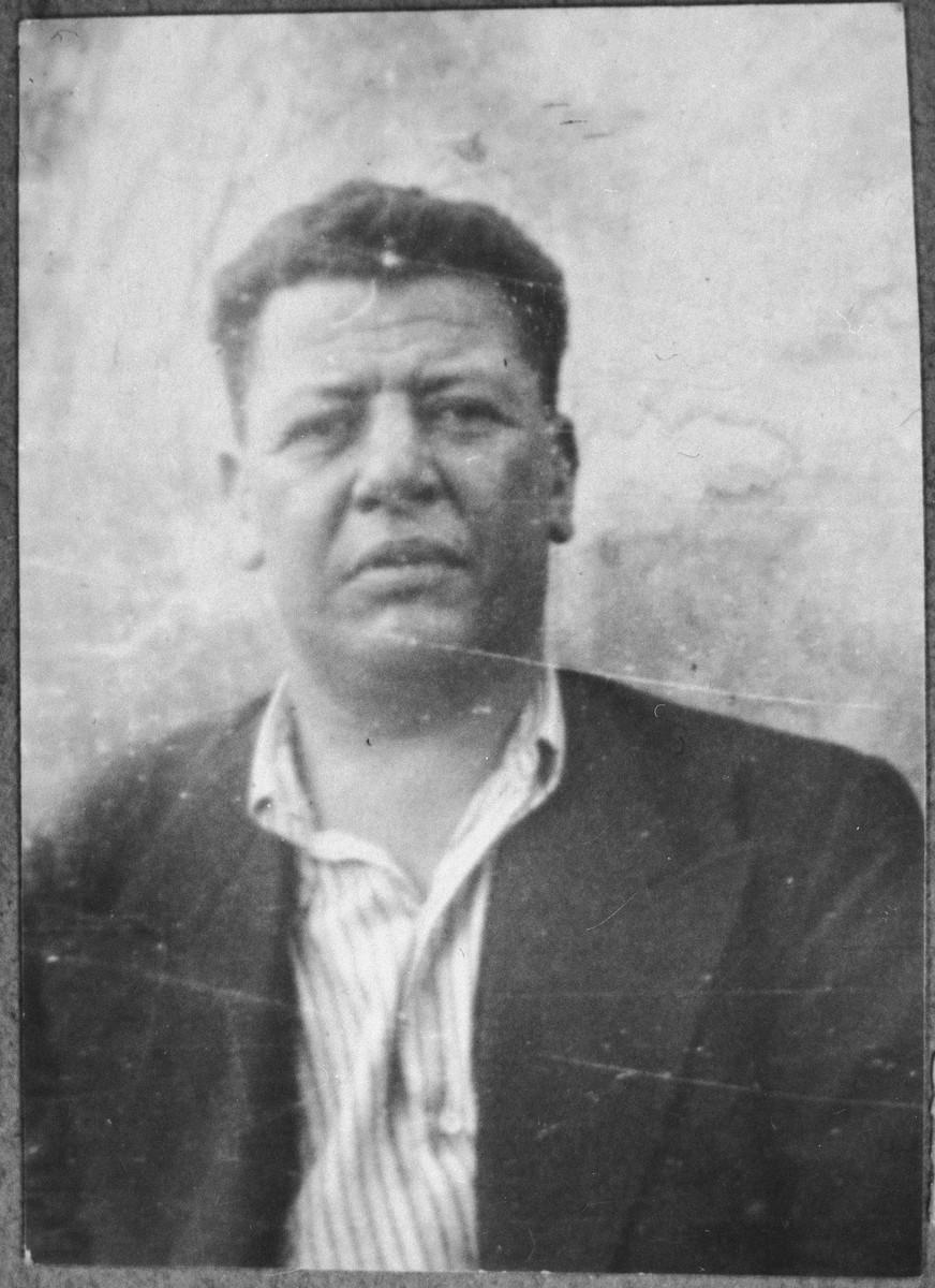 Portrait of Nissim Kassorla, son of David Kassorla.  He was a second-hand dealer.  He lived on Beograd in Bitola.