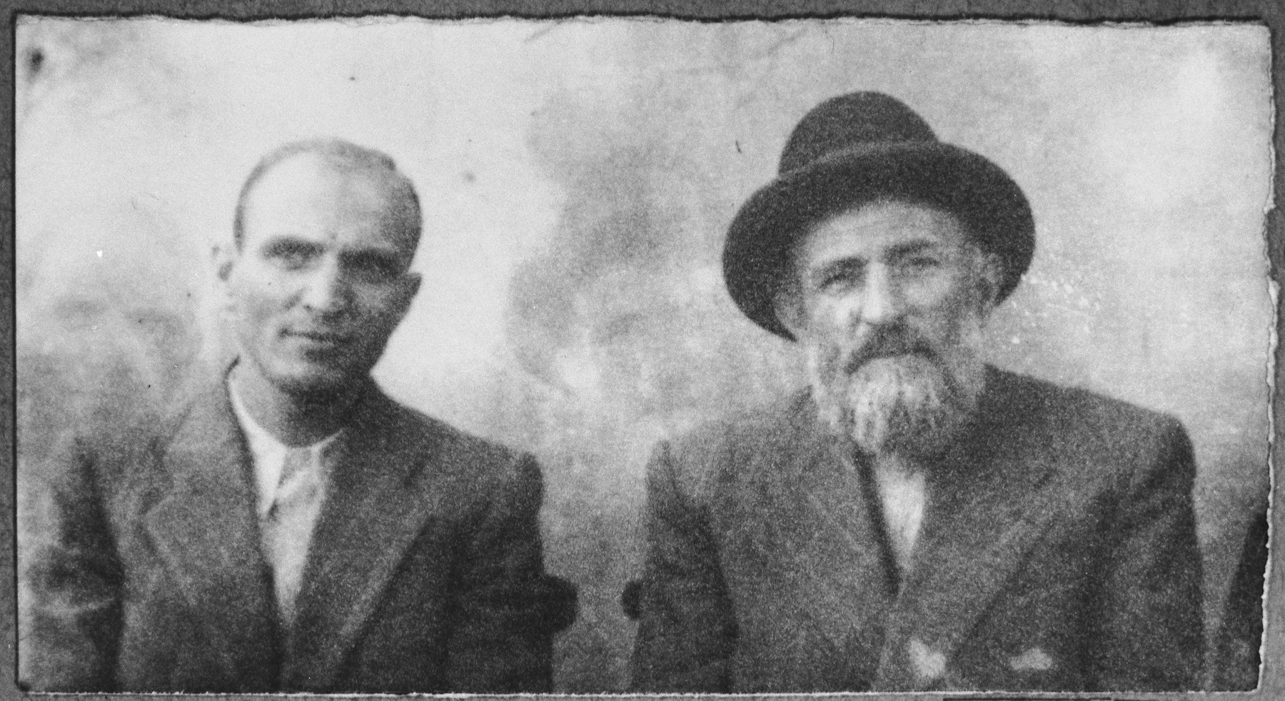 Portrait of Solomon Kassorla and his son, Dario.  Dario was a student.  They lived at Drinska 81 in Bitola.
