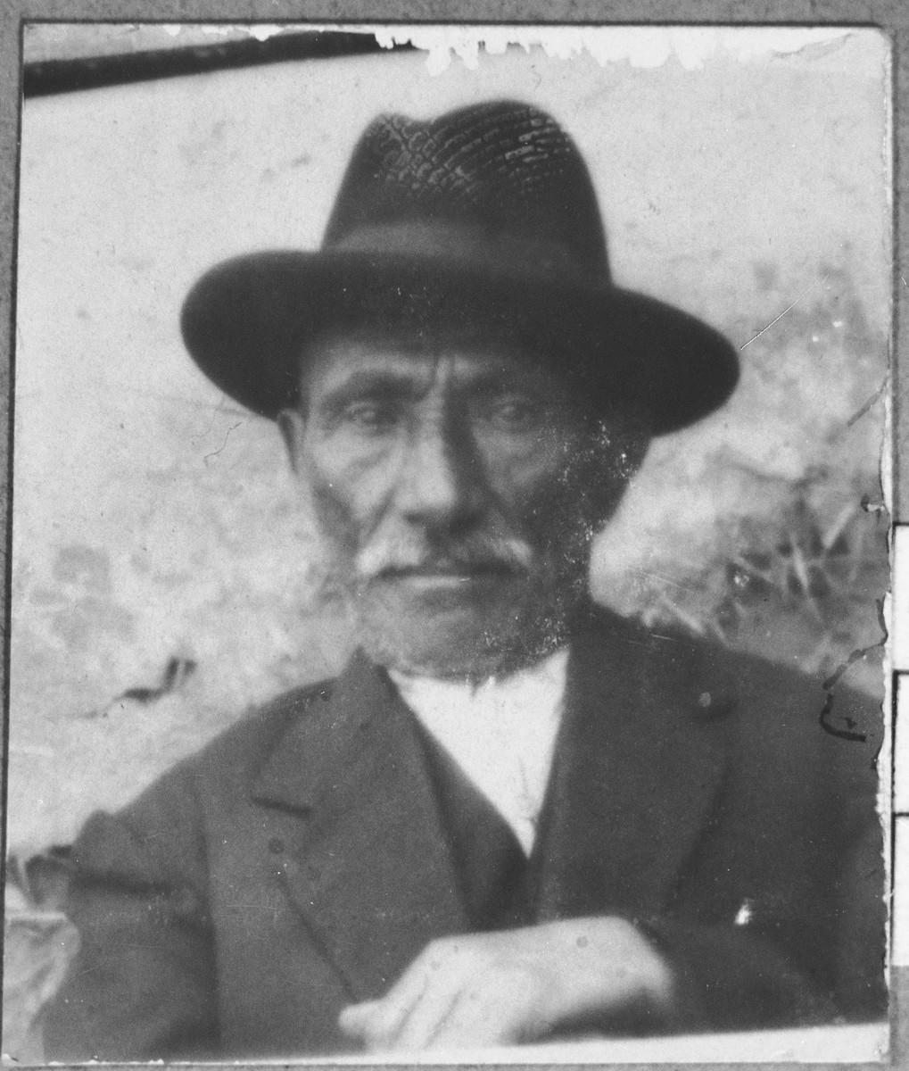 Portrait of Yosef Kassorla.  He was a miller.  He lived at Zvornitska 29 in Bitola.