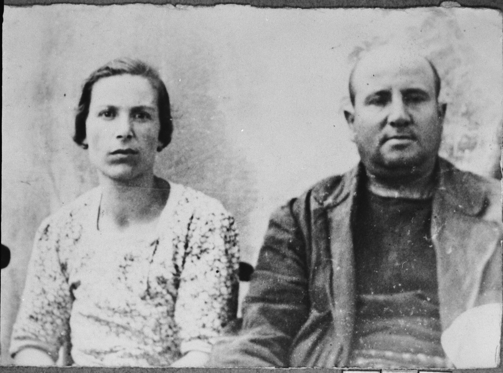 Portrait of Haim Kassorla and his wife, Sara.  Haim was a second-hand dealer.  They lived at Avliya 9 in Bitola.
