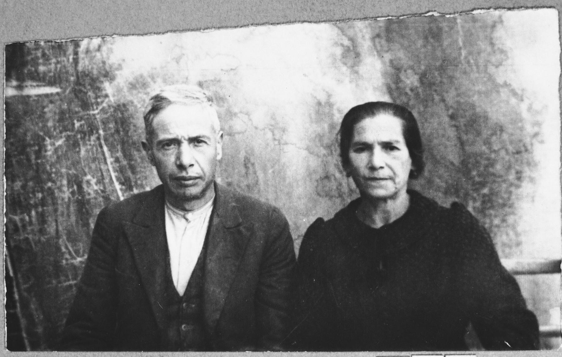 Portrait of Mushon Kassorla, son of David Kassorla, and his wife, Miriam.  Mushon was a merchant.  They lived at Novatska 11A in Bitola.