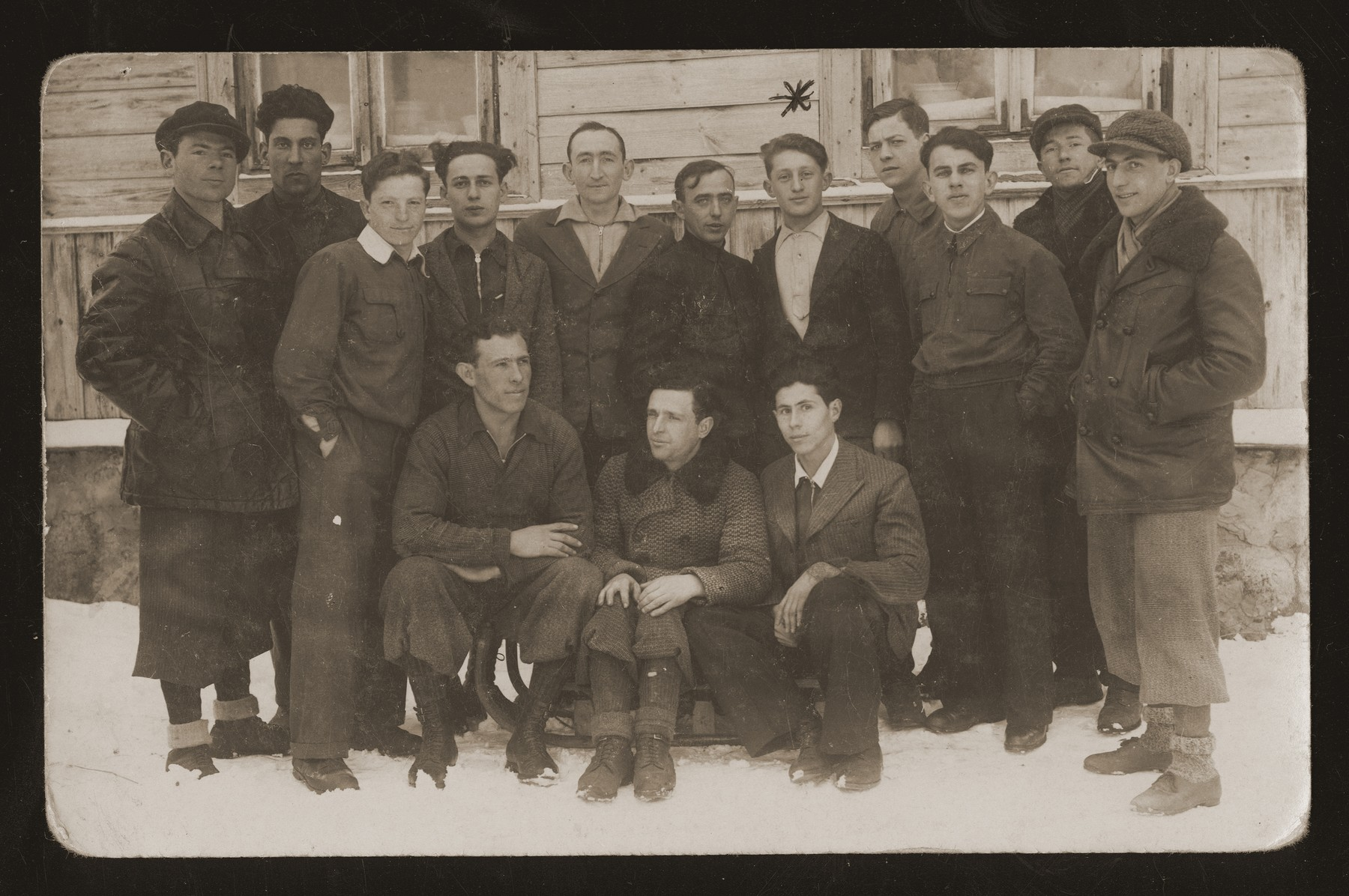 Members of a Zionist hachshara near Vilna all of whom were killed by the Germans in 1942.  Among those pictured is Zalman Gejdenson.