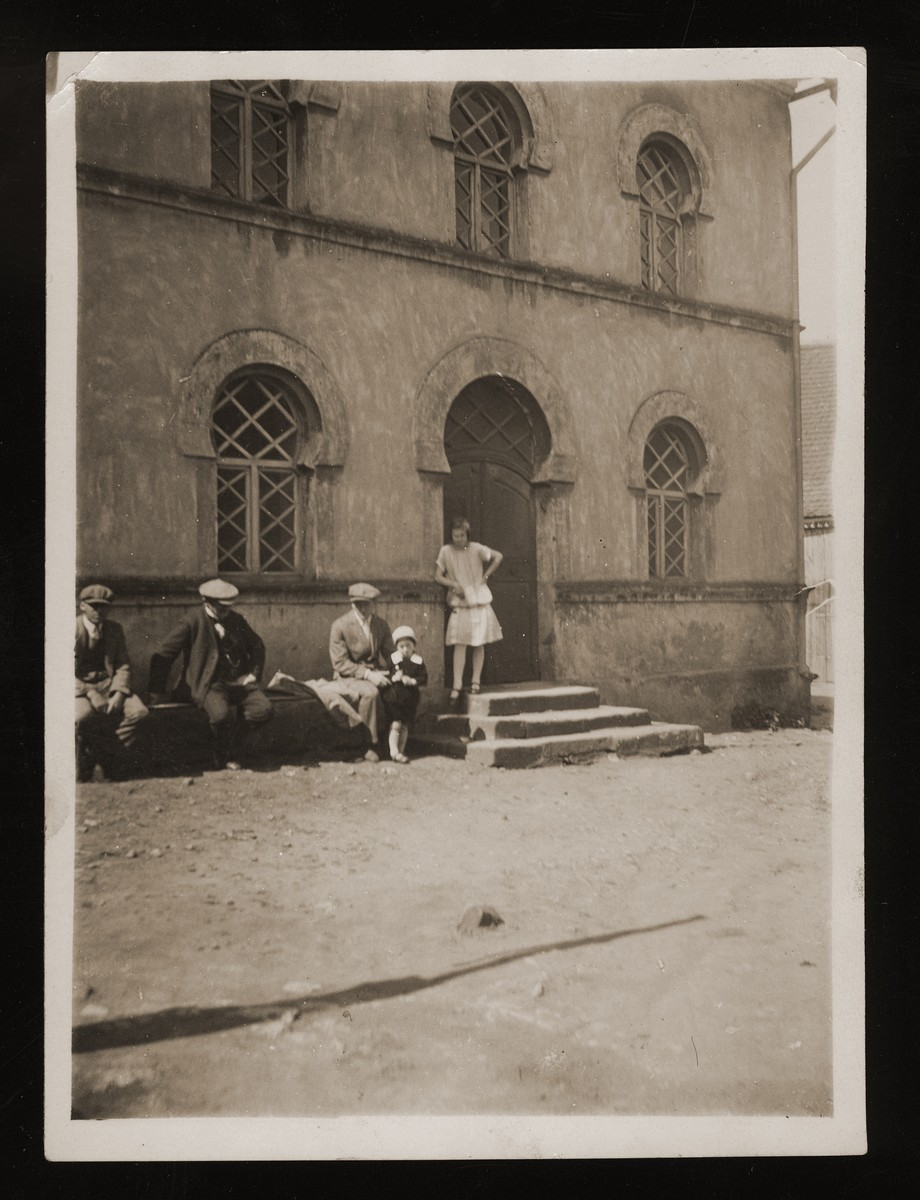 Members of the Winter family congregate outside the synagogue in Wittelshofen, Germany.