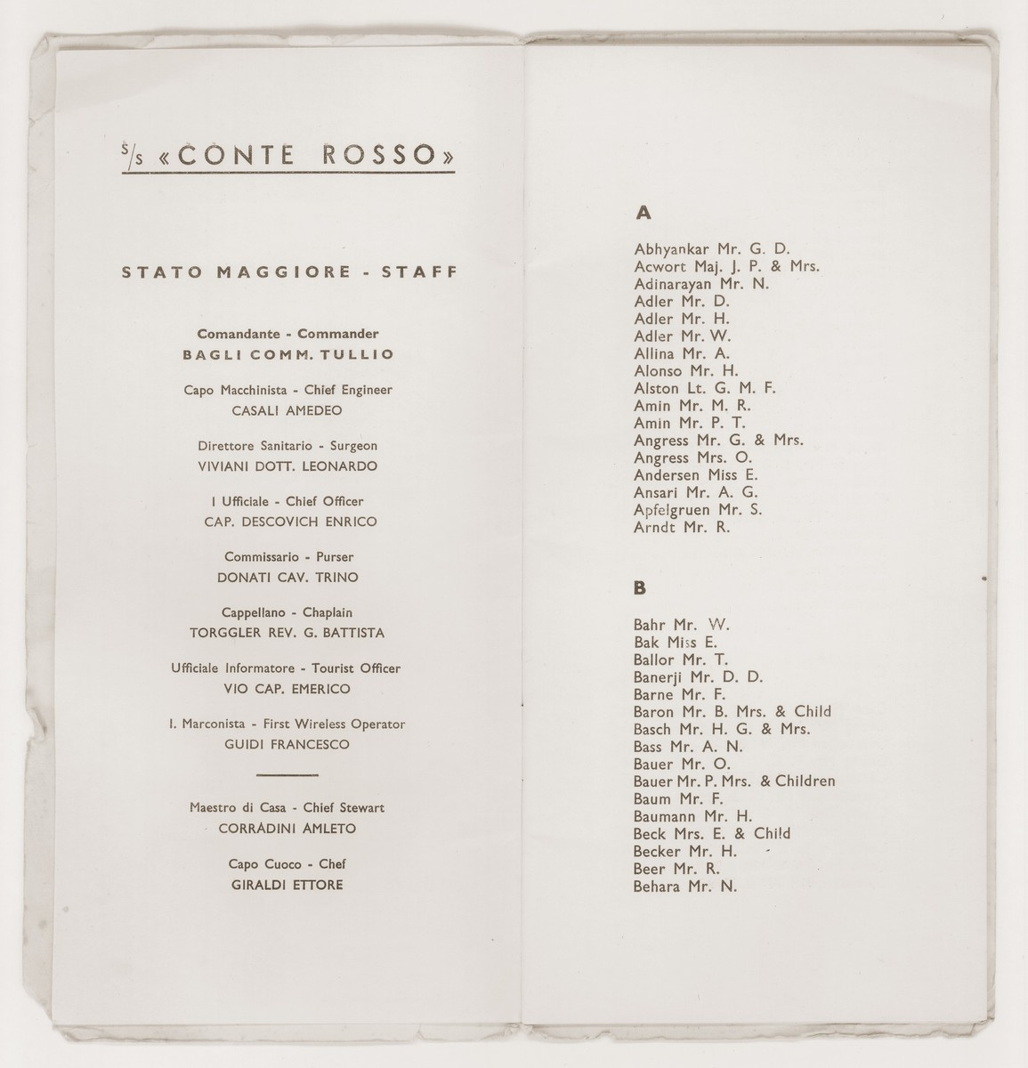 A passenger list issued to Siegfried and Walter Jacobsberg by Lloyd Triestino lines during their trip from Trieste to Shanghai aboard the SS Conte Rosso.