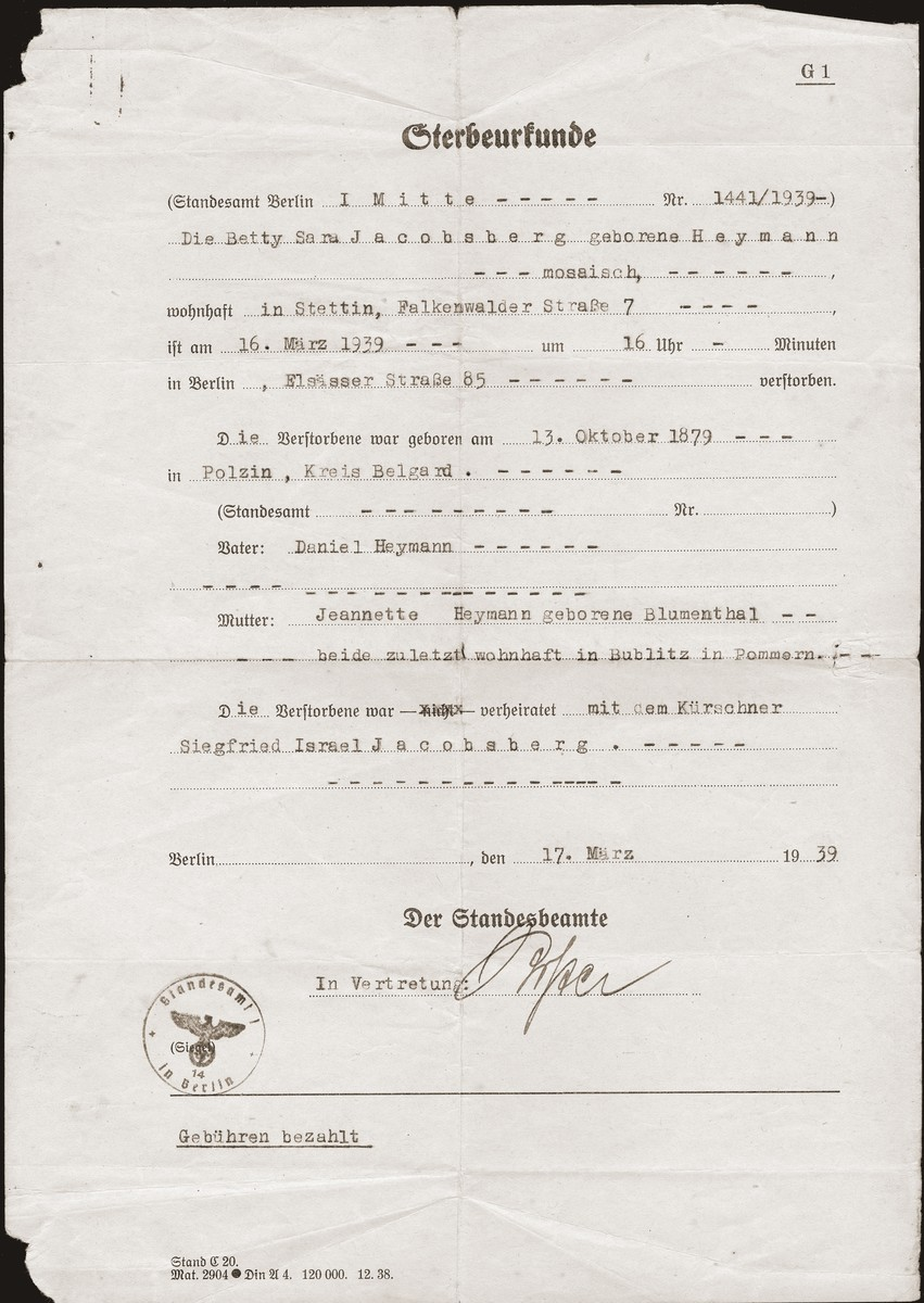 Betti Heimann Jacobsberg's death certificate, issued in Berlin on March 17, 1939.  Betti was about to depart for Shanghai with her husband and son when she took sick and died.