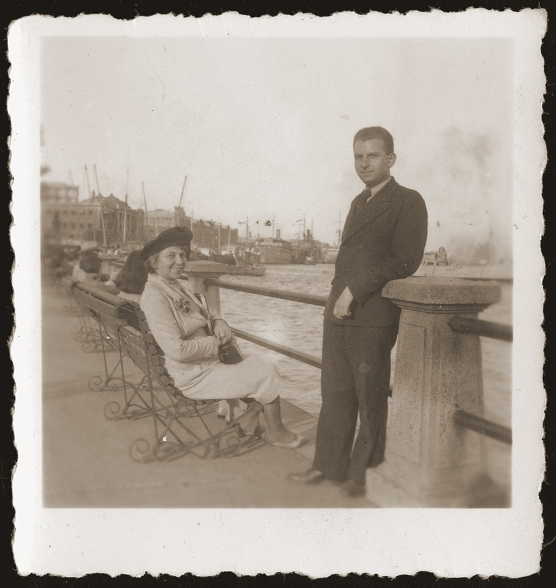 Walter Jacobsberg with an acquaintance at the public garden along the Bund in Shanghai.