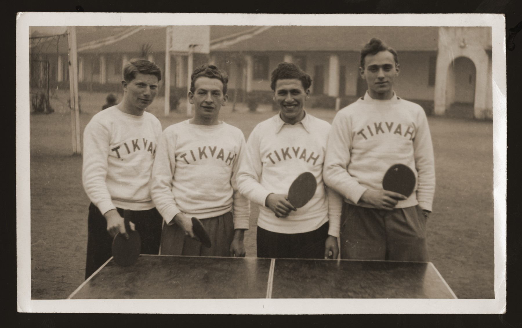 Group portrait of members of the Tikvah ping pong team.    Pictured from left to right are Ilie Wacs, Werner Rosenberg and Henry Sattler.