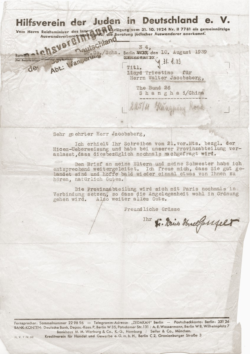 A letter sent to Walter Jacobsberg by an employee of the Hilfsverein der Juden in Deutschland shortly after his arrival in Shanghai.