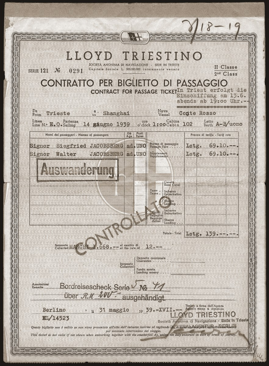 A passenger receipt issued to Siegfried and Walter Jacobsberg by Lloyd Triestino lines for transportation from Trieste to Shanghai aboard the SS Conte Rosso.