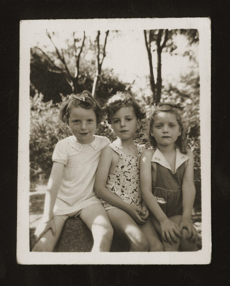 Close-up portrait of Deborah Wacs and two friends in Shanghai.
